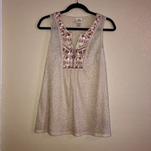 Boho Rose Gold Tank with Pink & Gold Embroidery